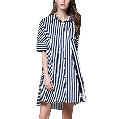 67ebcac0b7e StarTreene Women Polo Long Stripe Shirt Dress Short Sleeve Loose Blouse Plus  Size Dark Blue S