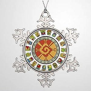 DONL9BAUER Christmas Ornament Personalised Mayan Calendar Design Hunab Ku Photo Frame Holiday Tags Metal Snowflake Pendant Xmas Decor for Anniversary Christmas Tree Hanging