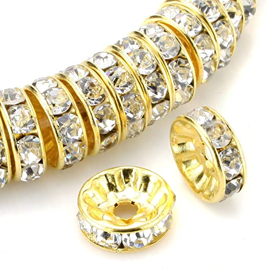 100pcs Iron Rhinestone Rondelle Spacer Beads 8mm Golden Silver Jewellery Making
