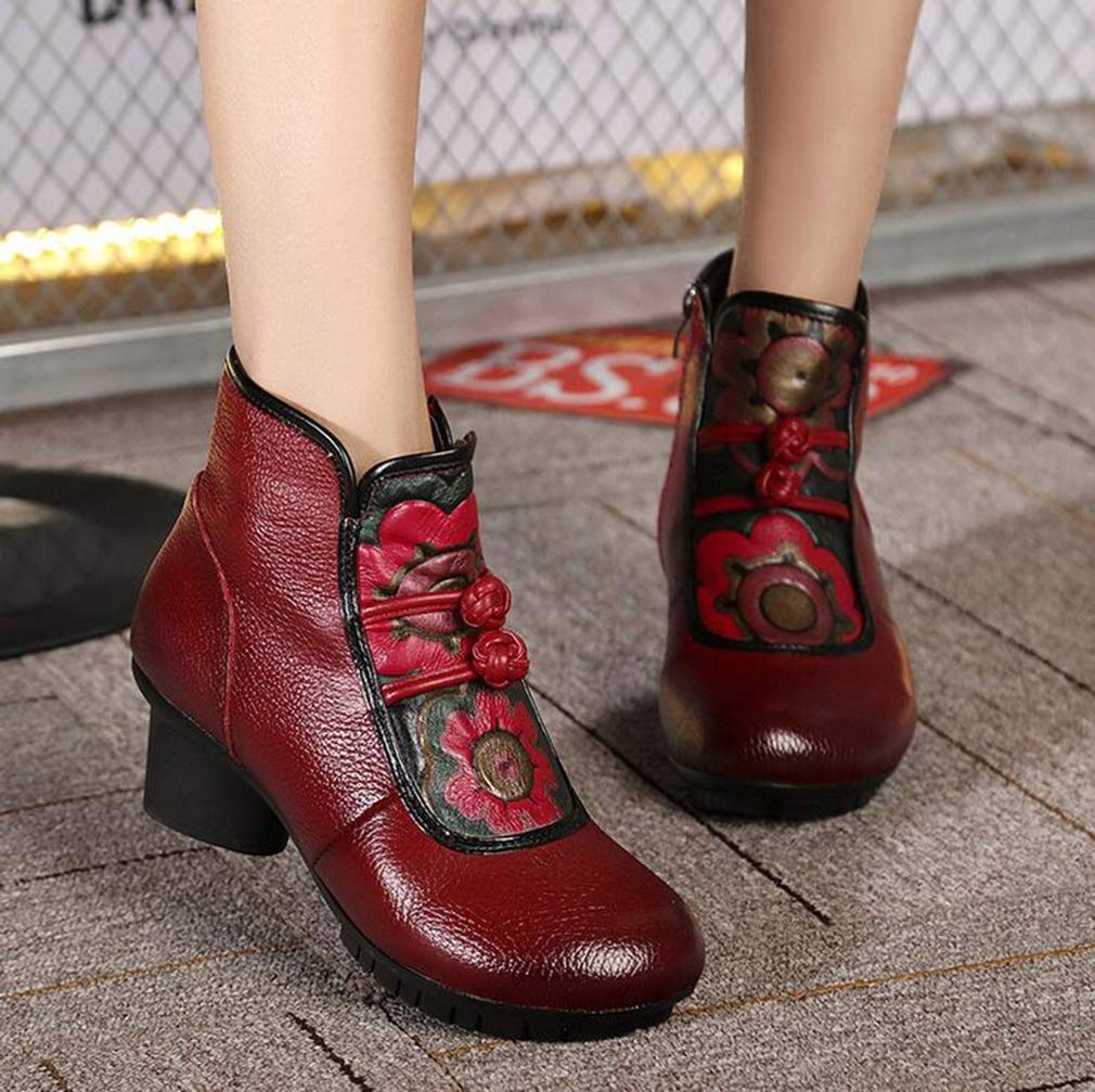 Color : Red, Size : 40 Middle-Aged Booties Hy Womens Booties Fall//Winter Leather New Retro National Wind Booties,Ladies Comfort Martins Boots,Handmade Fashion Boots