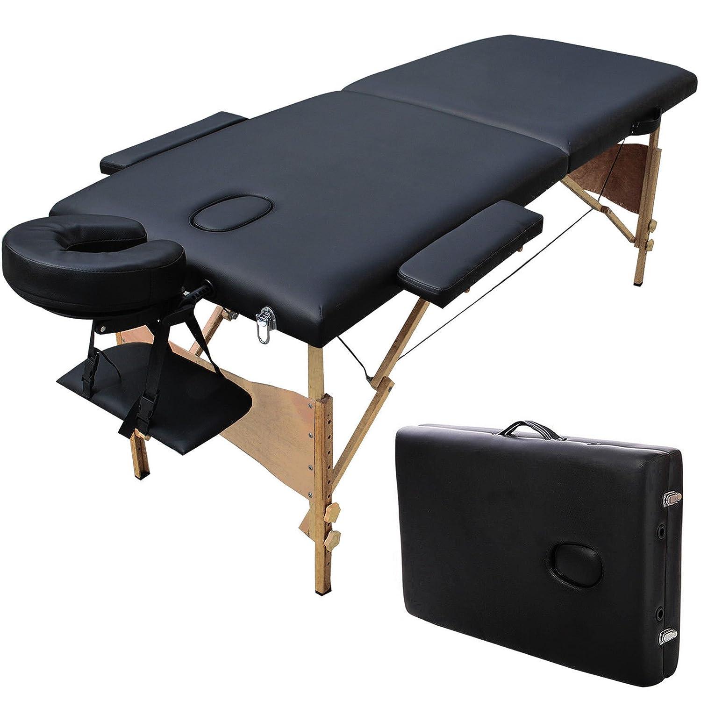 Dr. Health (TM) Super Stable Portable 2 Fold Massage Reiki Facial Table Bed (Black) Free Carrying Bag & Armrests (Black) DIGIPARTS