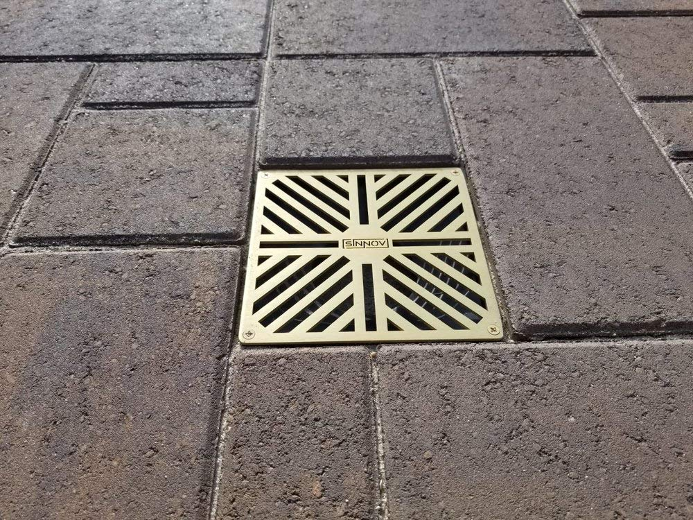 USA Made - Sinnov - 6'' x 6'' Premium Brass Modern Paver Drain Grate - Use with 3'' & 4'' Drain Pipe, PVC or Flexible - No More Re-cutting Pipe or Pavers! Concrete, Natural Stone, Travertine