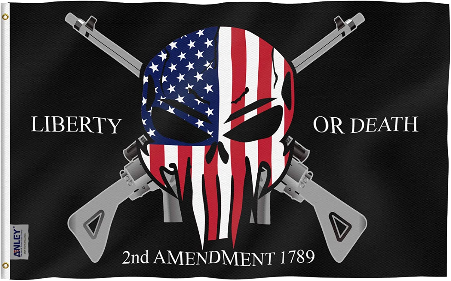 Anley Fly Breeze 3x5 Foot Liberty or Death 2nd Amendment 1789 Flag - Vivid Color and Fade Proof - Canvas Header and Double Stitched - USA Punisher Skull Flags Polyester with Brass Grommets 3 X 5 Ft