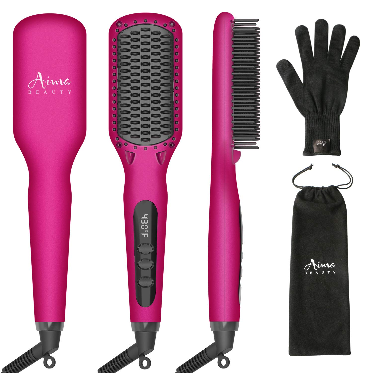 Ionic Hair Straightener Brush, Heated Straightening Iron Brush for Hair LED Display Adjustable Temperatures Anti Scald Hair Comb 30s Fast Heating, Hair Care Comb Set for Travel Salon