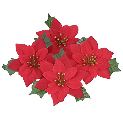 pangda 6 inches poinsettia flower christmas tree ornaments 10 - Flower Christmas Ornaments