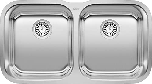 BLANCO, Stainless Steel 441020 STELLAR 50 50 Double Bowl Undermount Kitchen Sink,