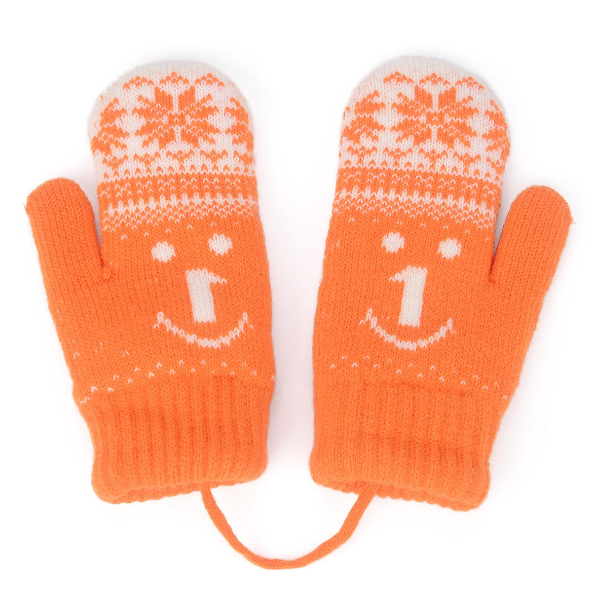 HomeDay Kids Winter Knitted Mittens with String Thicken Gloves Fleece-Lined