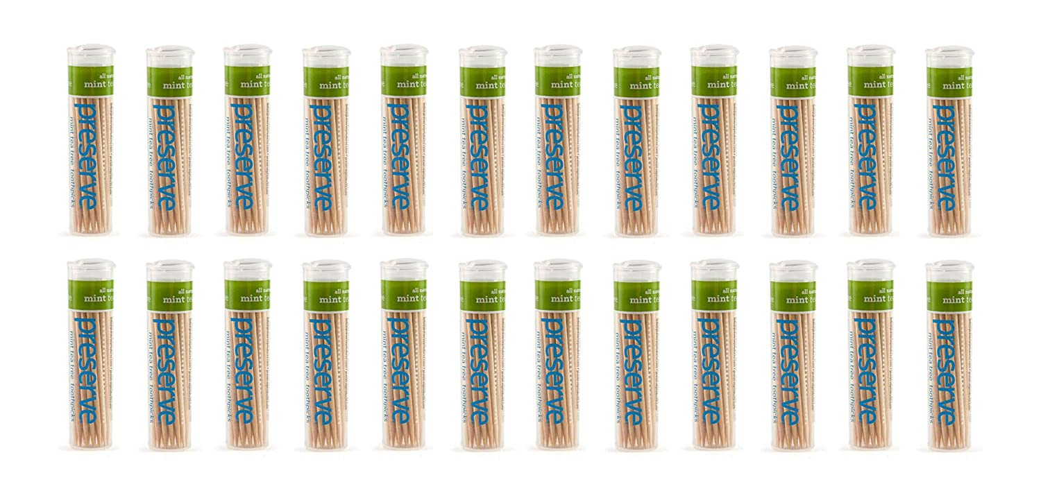 Preserve Toothpicks, Mint Tea Tree, 24 canisters 2101cs