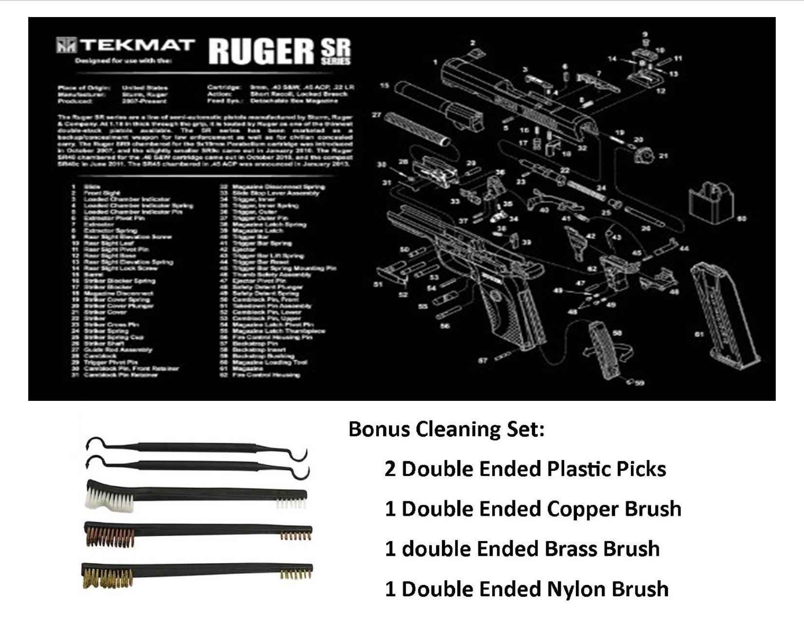 TekMat 11-Inch X 17-Inch Handgun Cleaning Mat with Ruger SR Imprint Bonus 5 oc Gun Cleaning Brush & Pick Set