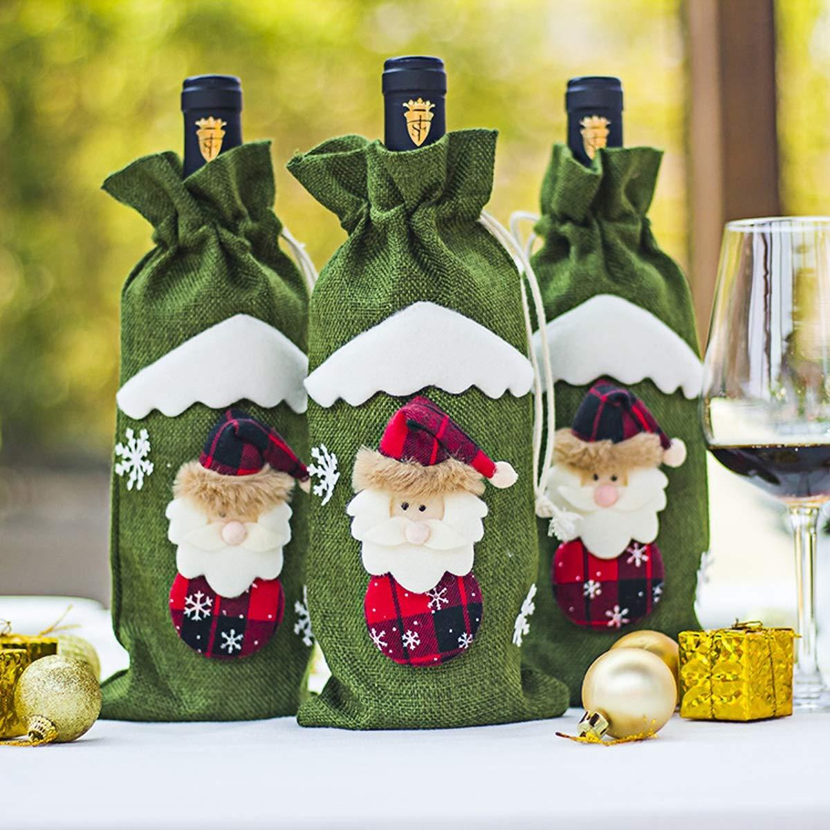 HaiQianXin Cubiertas de Botellas de Vino Tinto de Navidad Vajilla Decoración de Mesa Adornos Decoración Navidad Papá Noel (Color : Green): Amazon.es: ...