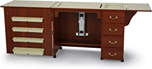 Arrow 352 Norma Jean Sewing Cabinet for Sturdy Sewing, Cutting, Quilting, and Crafting with Storage and Airlift, Cherry Finish