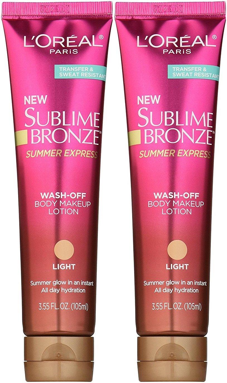 L'Oreal Sublime Bronze Summer Express Wash-Off Lotion in Light, 3.55 Fl Oz (2-Pack)