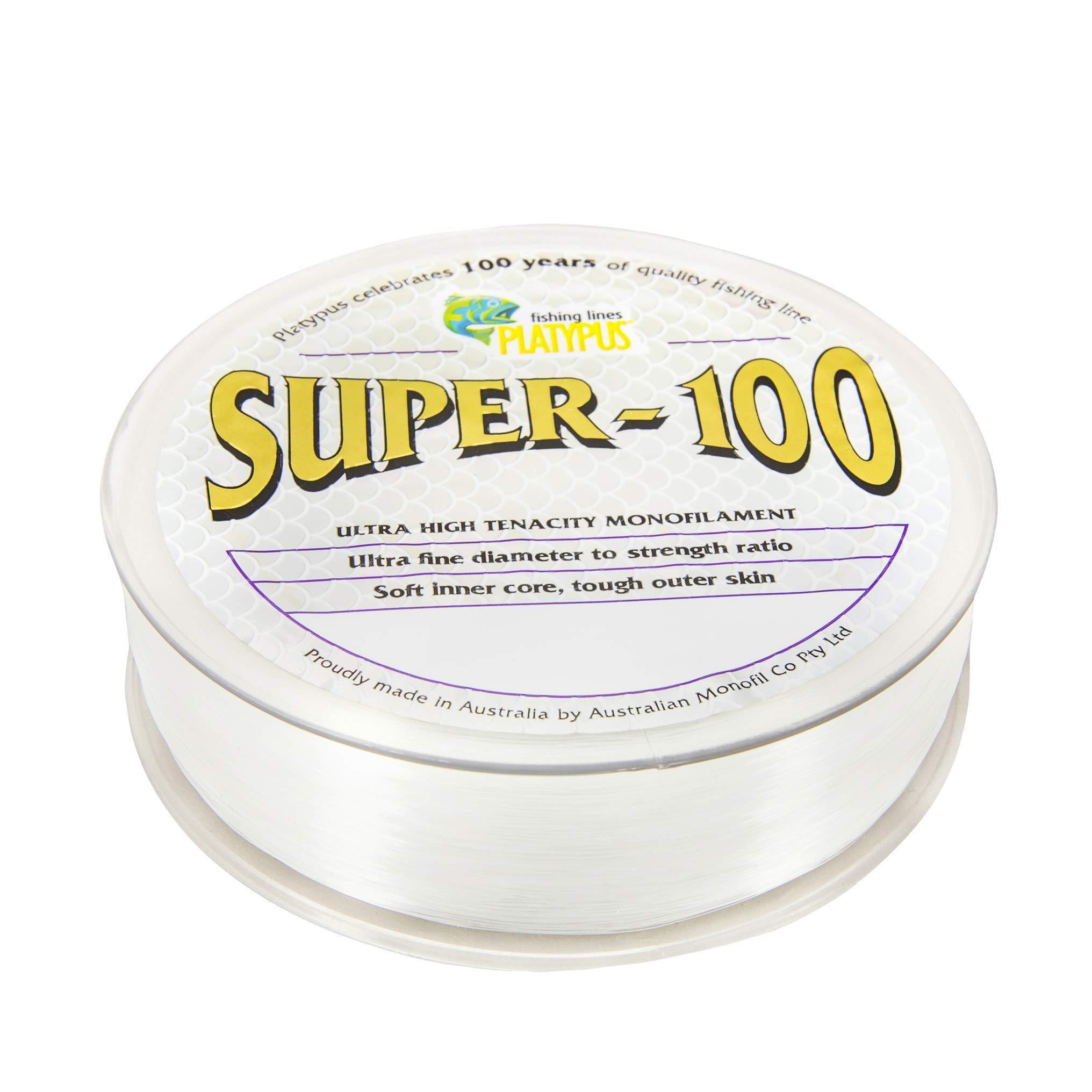 Platypus Super-100 - World's Strongest Fishing Line Since 1898! Clear (300m Spool, 50 lb)