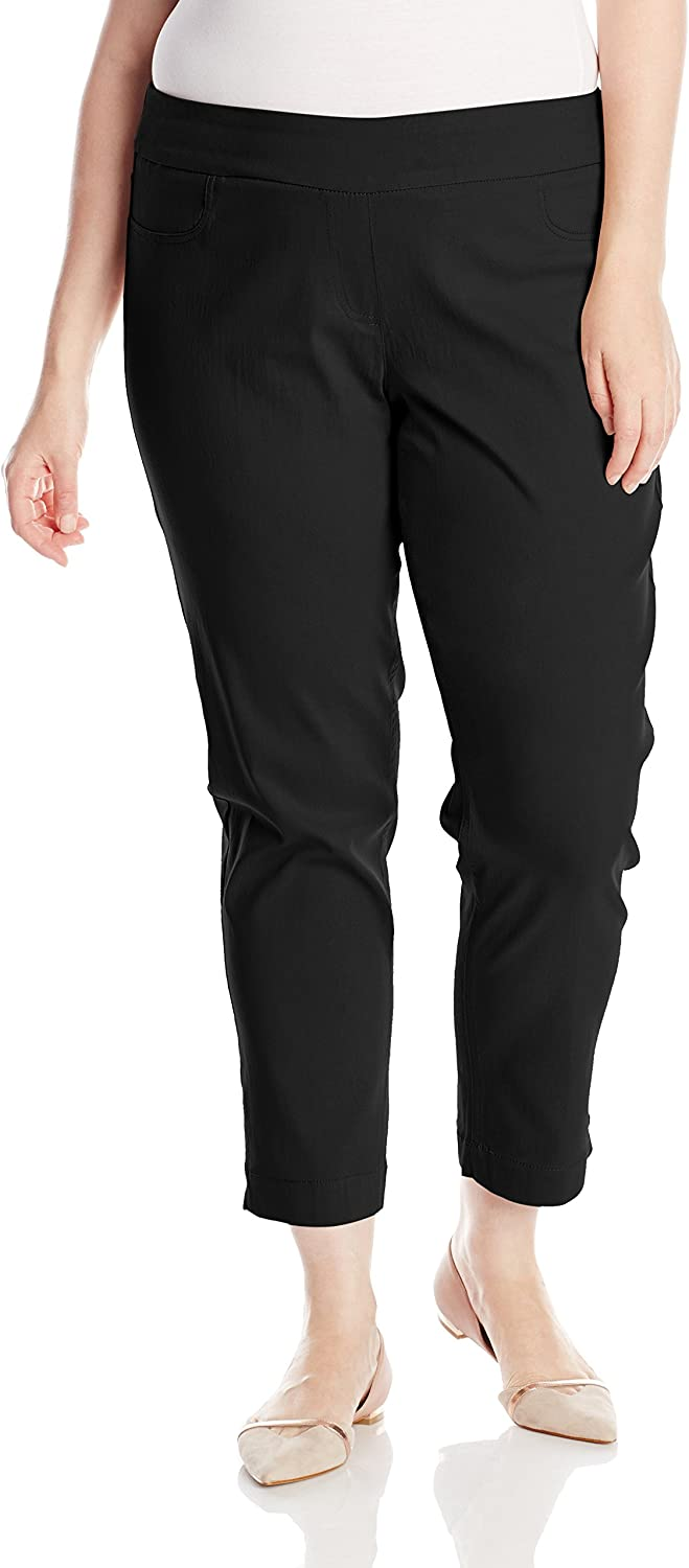 SLIM-SATION Women's Plus-Size Wide Band Pull on Ankle Pant with Tummy Control