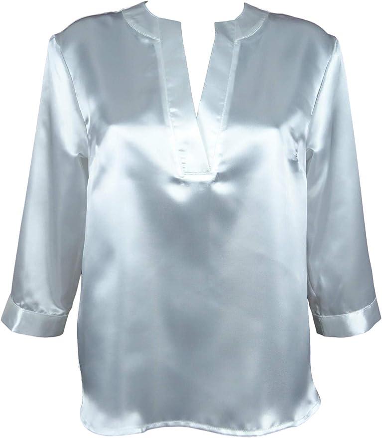 FASHION-KEM - Blusa de satén para Mujer: Amazon.es: Ropa y accesorios