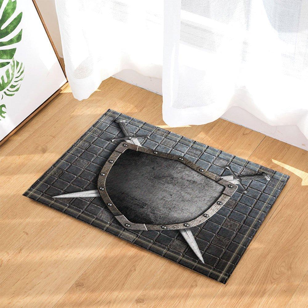 GoHeBe Ancient Stone Decor Medieval Shield with Crossed Swords on Brick Wall Bath Rugs Non-Slip Doormat Floor Entryways Indoor Front Door Mat Kids Bath Mat 15.7x23.6in Bathroom Accessories