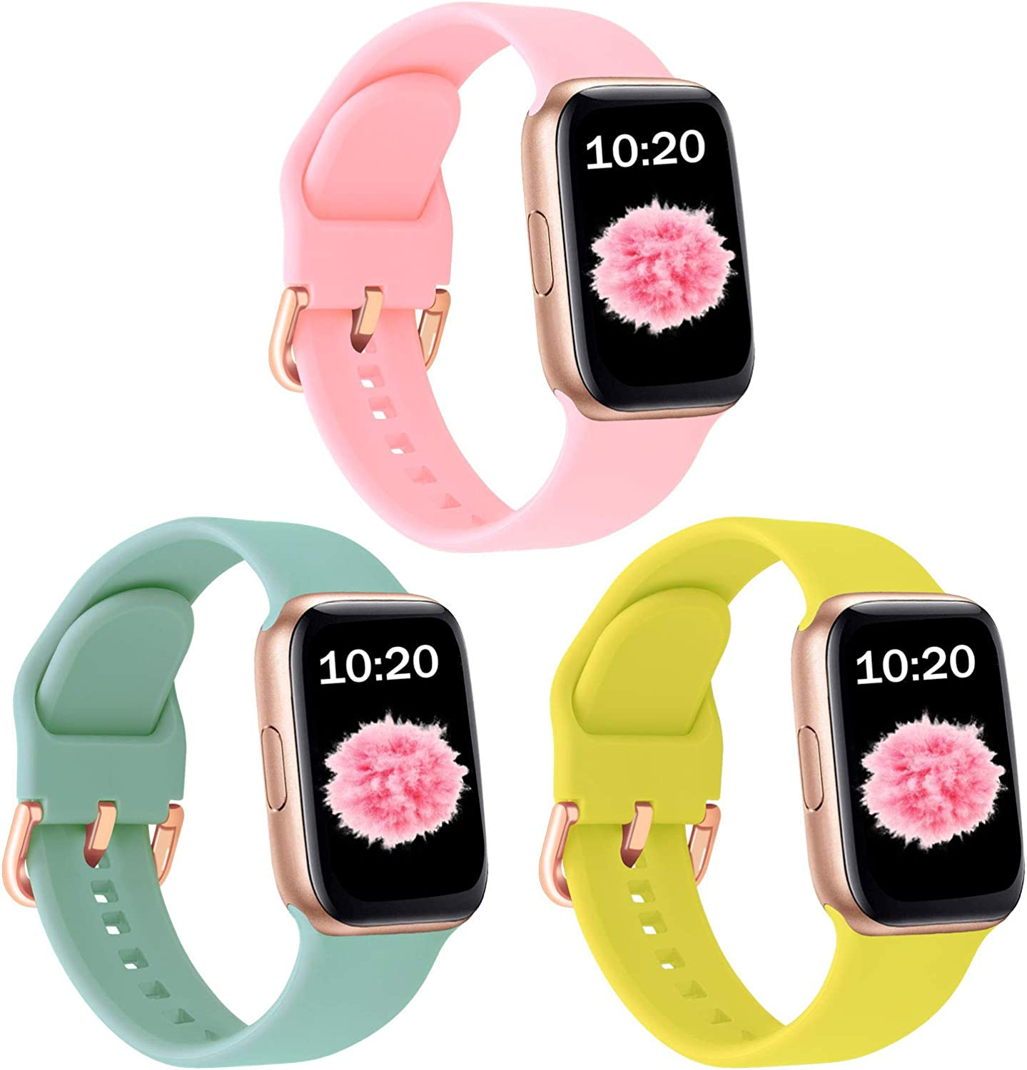 SinJonden 3-Pack Bands Compatible with Apple Watch 42mm 44mm 38mm 40mm, Silicone Bands with Rose Gold Buckle for iWatch Series SE/6/5/4/3/2/1 Women (38mm/40mm-M/L, Light Pink/Turquoise/Bright Yellow)