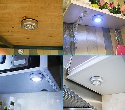 Juego de 8 luces LED inalámbricas con batería, adhesivas, a presión, con 3 luces LED, para armario, coche o luz de servicio: Amazon.es: Iluminación