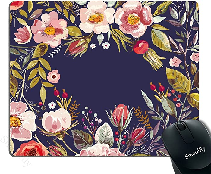 Smooffly Gaming Mouse Pad Custom,Mouse Pad Unique Custom Printed Mousepad Vintage Hand Drawn Floral Wreath Stitched Edge Non-Slip Rubber 9.5x7.9-Inch