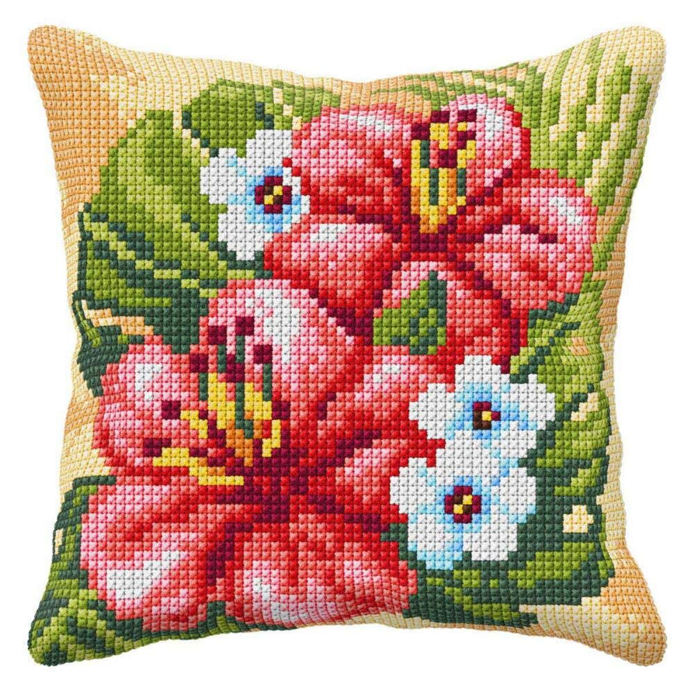 Orchidea Hibiscus Pillow Cover Needlepoint Kit