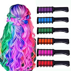 New Hair Chalk Comb Temporary Bright Hair Color Dye for Girls Kids,Washable Hair Chalk for Girls Age 4 5 6 7 8 9 10+ Children's Day, Christmas Gift New Year Birthday Party Cosplay DIY,6 Colors