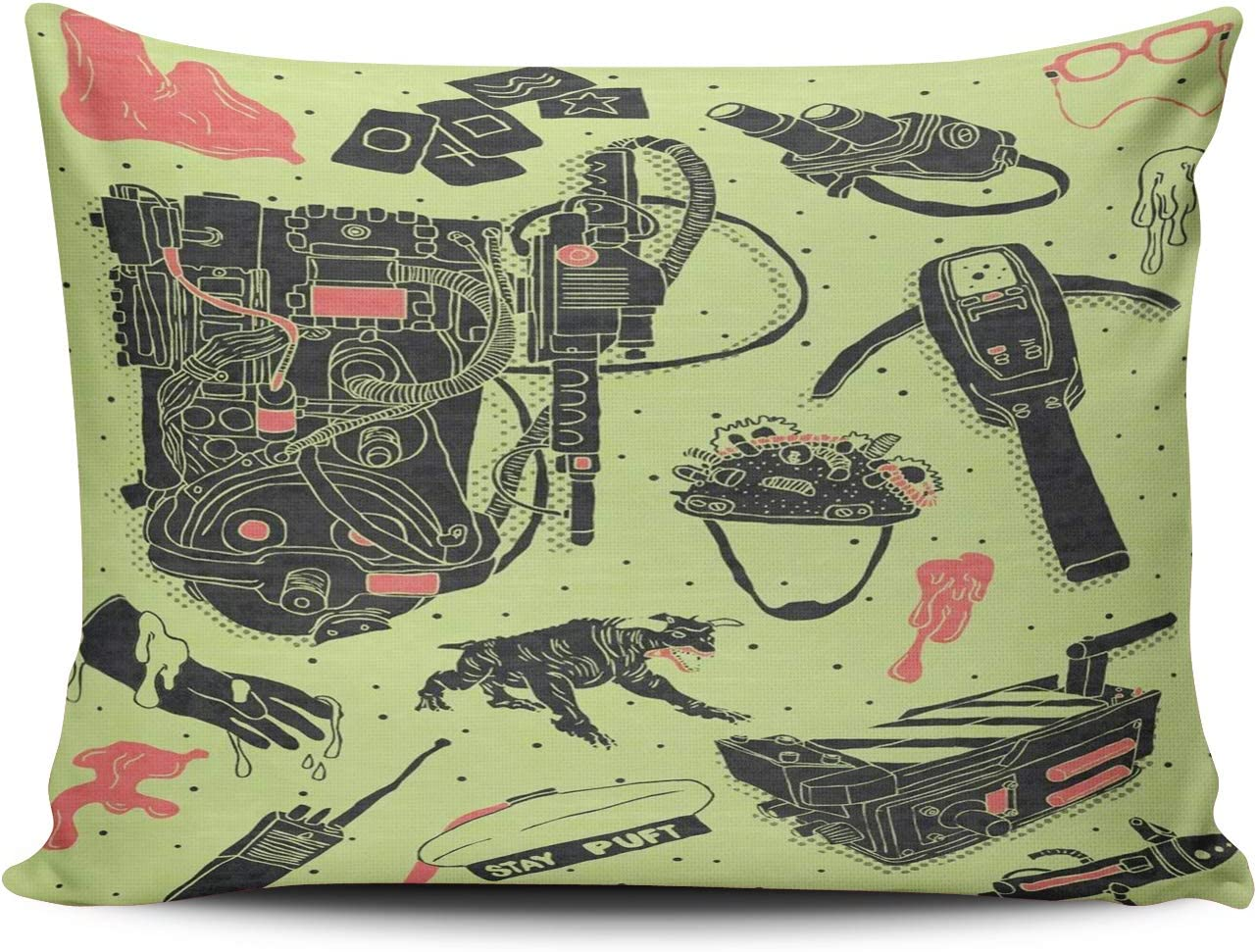 MUKPU Home Custom Decor Ghostbusters Equipment Pillowcase Breathable Throw Pillow Case Hidden Zipper One Side Design Print Standard 20x26 Inches