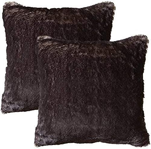 North End Decor Faux Fur 2-Pack 18 x18 with Insert, Dark Grey-Tipped Fox Throw Pillows, 18×18 Stuffed