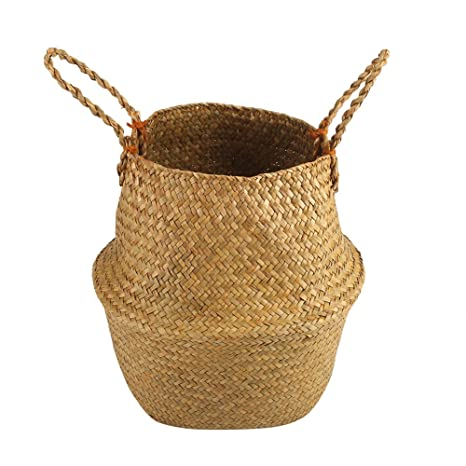 Seagrass Belly Basket Storage Plant Pot Foldable Nursery Laundry BagRoom Decor0U
