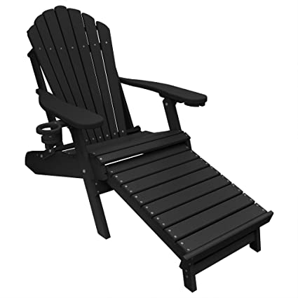 Groovy Eccb Outdoor Outer Banks Deluxe Oversized Poly Lumber Folding Adirondack Chair With Integrated Footrest Black Download Free Architecture Designs Pushbritishbridgeorg