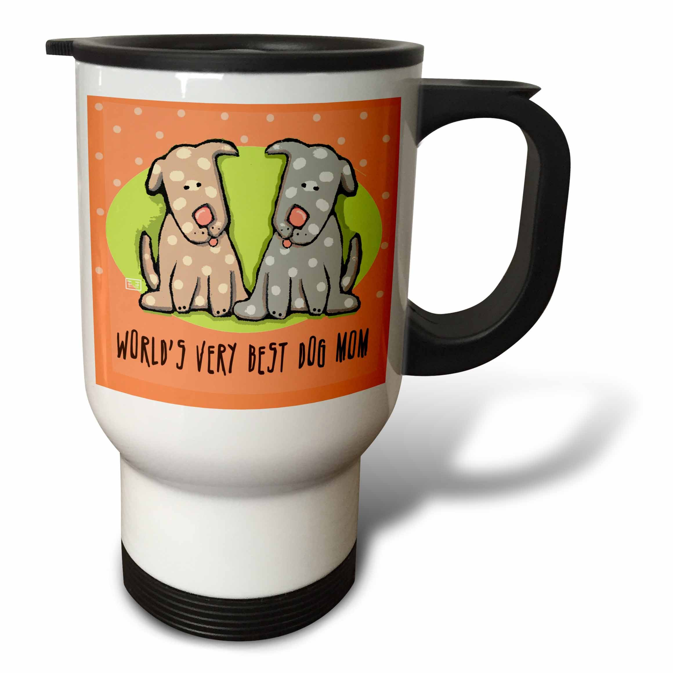 3dRose World's Best Dog Mom Cute Cartoon Puppies Pets Animals Travel Mug, 14-Ounce, Stainless Steel