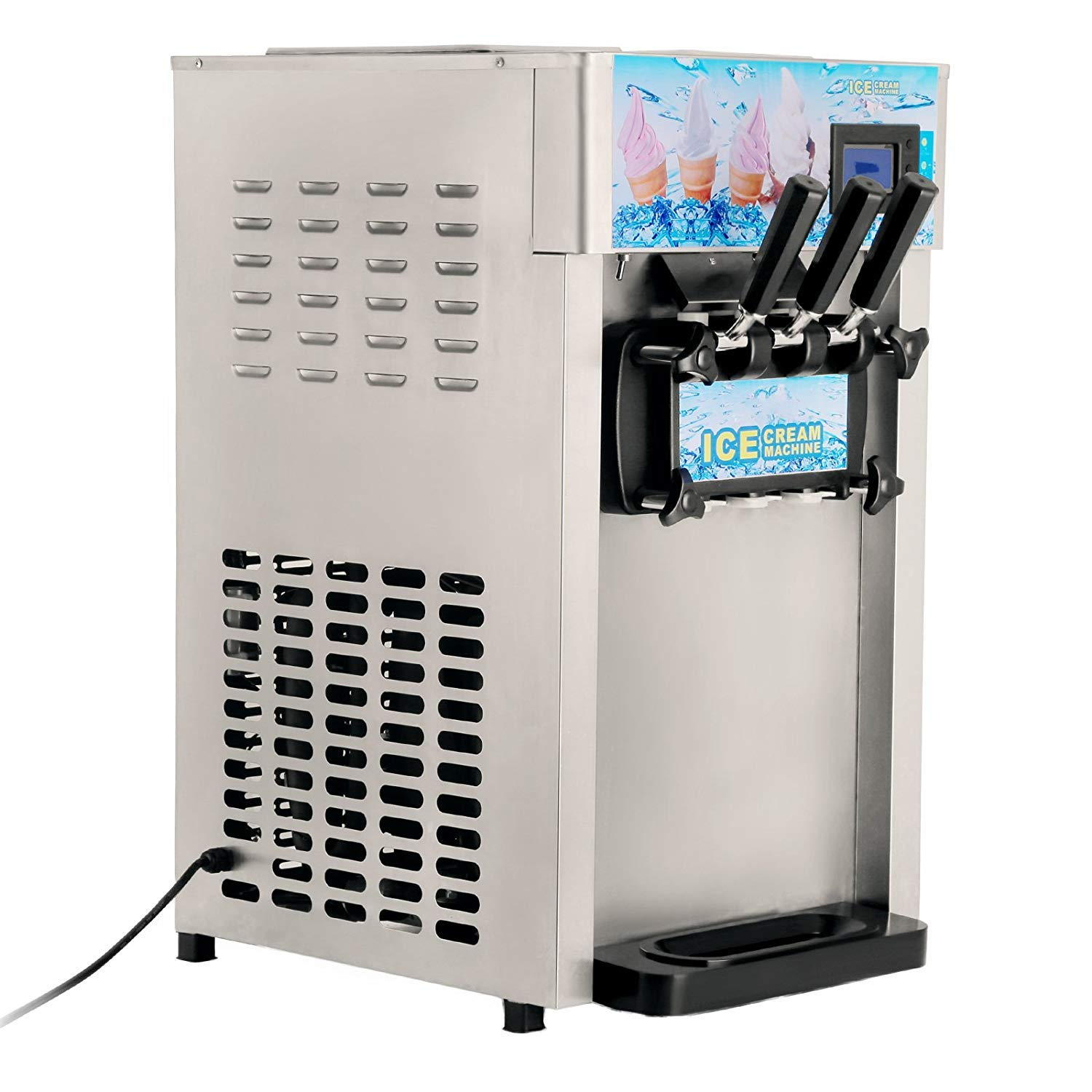 VEVOR 1200W Commercial Soft Ice Cream Machine 3 Flavor 4.75Gal/H Yogurt Maker Perfect for Coffee Shop or Family Party