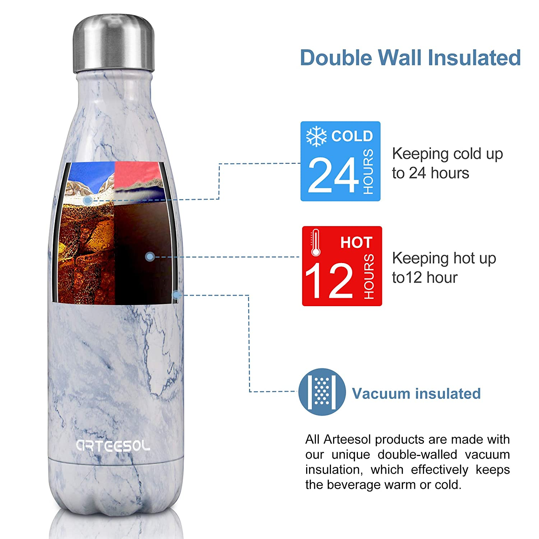arteesol Botella de Agua Acero Inoxidable Botella de Agua Aislada Botella t/érmica Doble Pared a Prueba de Fugas 500 ml//750 ml 1000 ml Botella Deportiva Botella de Bebida