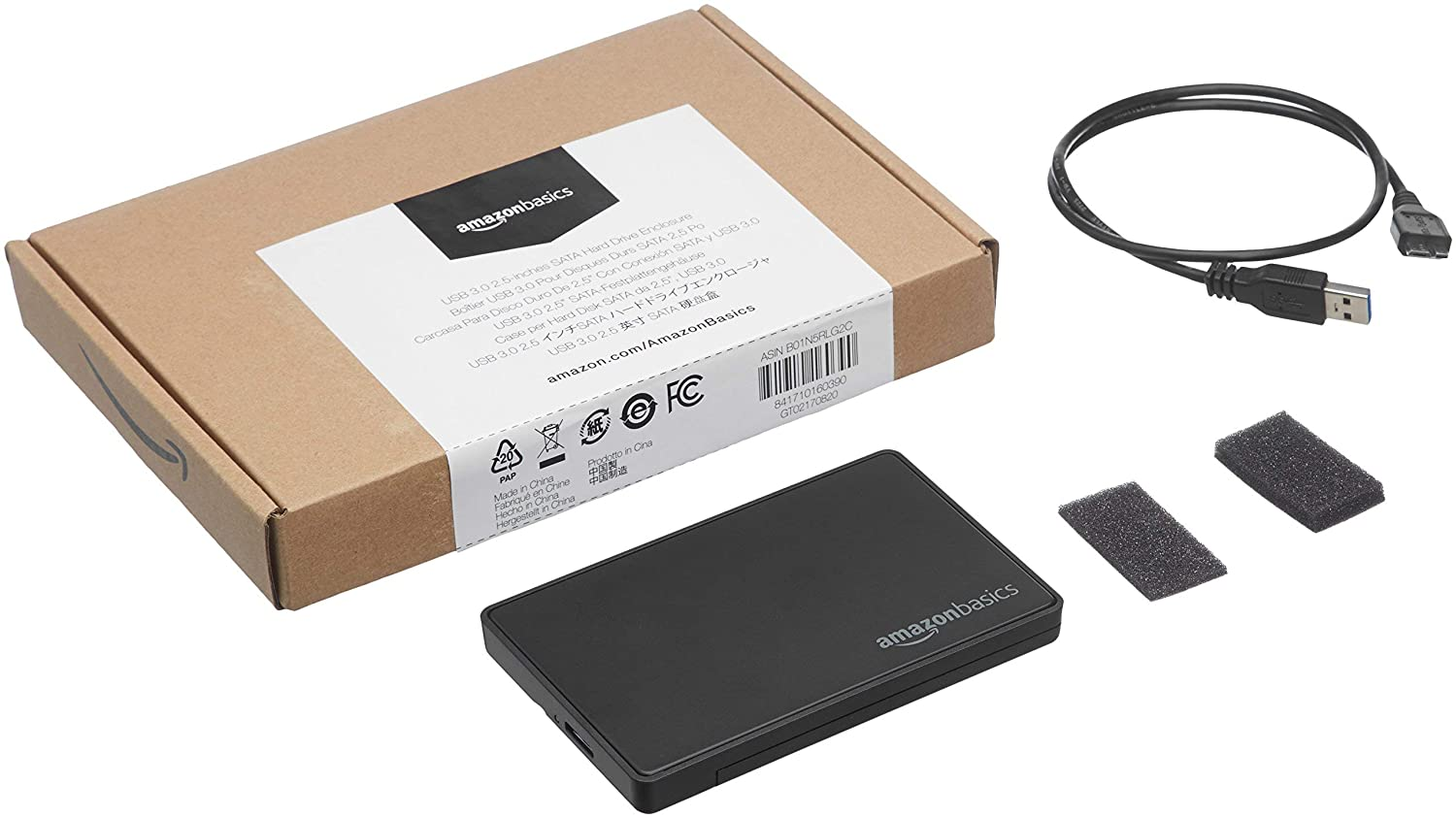 AmazonBasics 3.5-inches SATA HDD Hard Drive Enclosure - USB 3.0 (Renewed)