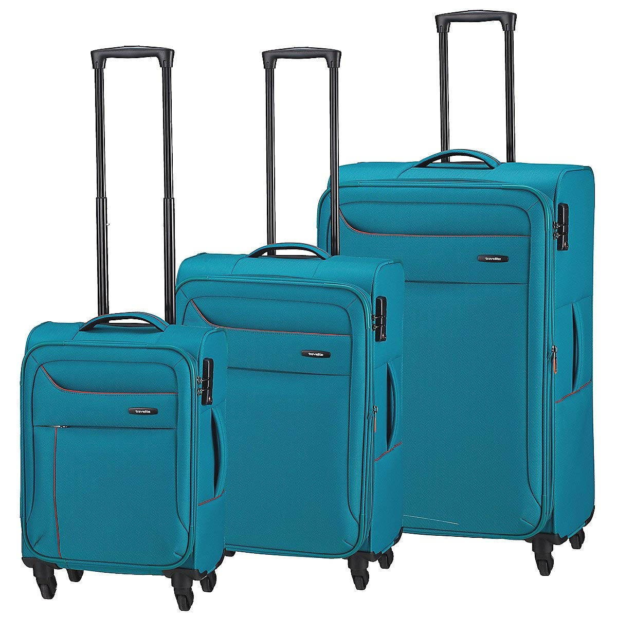 4teilig Aqua//Orange 88140-25 Set de Bagages Travelite Solaris 4 Rad 225 liters Kofferset 77 cm L//M//S Aqua//Orange Turquoise BT