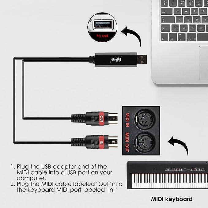 Mugig MIDI Cable 1.95M IN-OUT MIDI a USB, PC Interfaz 5 Pin MAC Convertidor con MIDI Instruments, para Teclado de Piano Sin Necesidad de Controladores ...