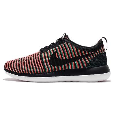 Nike Men's Roshe Two Flyknit, BLACK/BLACK-BRIGHT CRIMSON-CLEAR JADE,