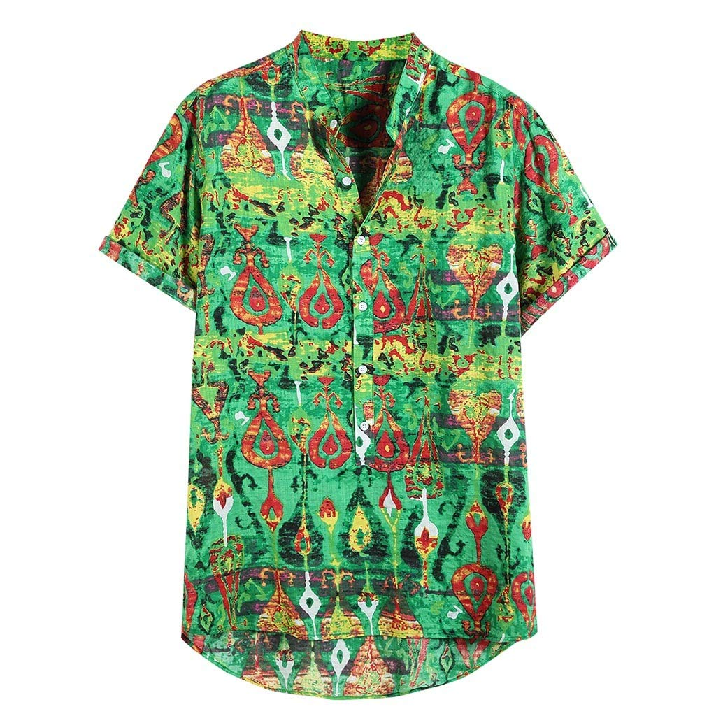 ZOMUSAR 2019 Blouse for Men, Mens Summer Breathable Comfortable Colorful Printed Summer Short Shirt Green