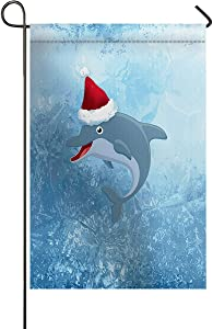 Small Premium Garden Flag Dolphin Wearing a Christmas Hat in The Oceam Waves Garden Flags Burlap Yard Outdoor Decor - Weather Resistant & Double Stitched - 12 x 18 Inch