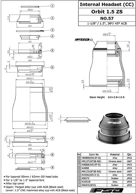 FSA Fork Cone H6050 1.5 inch