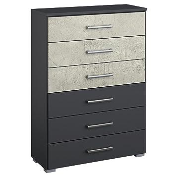 Kommode Maliso Grau Metallic Beton Optik Breite 69 Cm Hohe 100 Cm