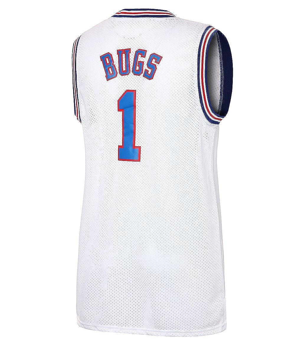 JOLI SPORT Bugs 1 Space Mens Movie Jersey Mens Basketball Jersey S-XXXL White//Black S-XXXL