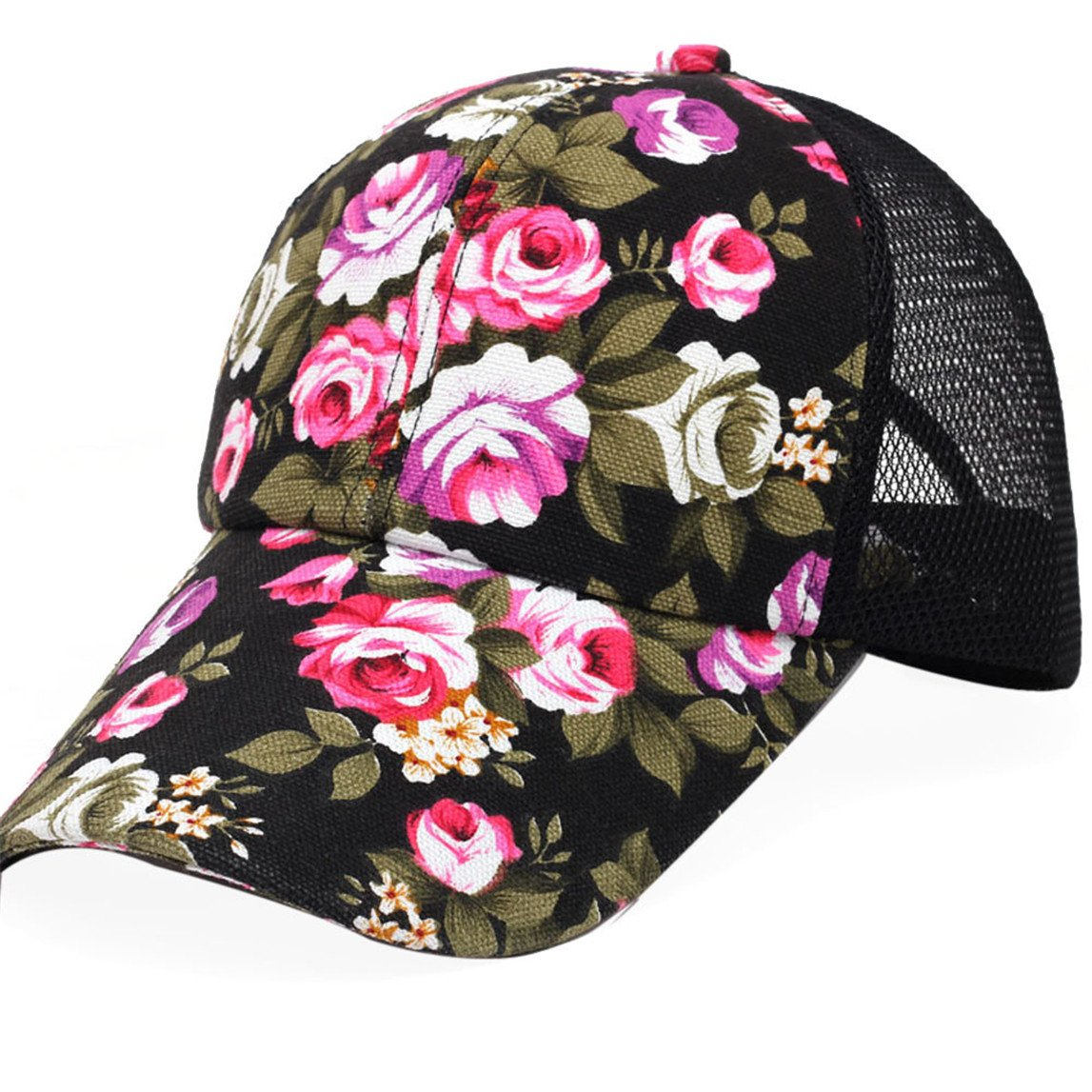 Baseball Cap Clearance,Adjustable Floral Trucker Snapback Cap Baseball Cap Hat for Women Girls (Black)