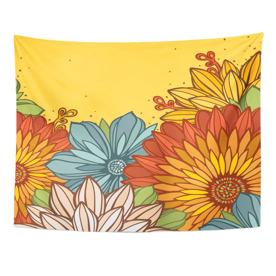 breezatタペストリーブルーフローラルFestive大きな黄色の抽象的マルチカラー花と配置カラフル美しいホーム装飾壁吊り用リビングルームベッドルーム寮 60