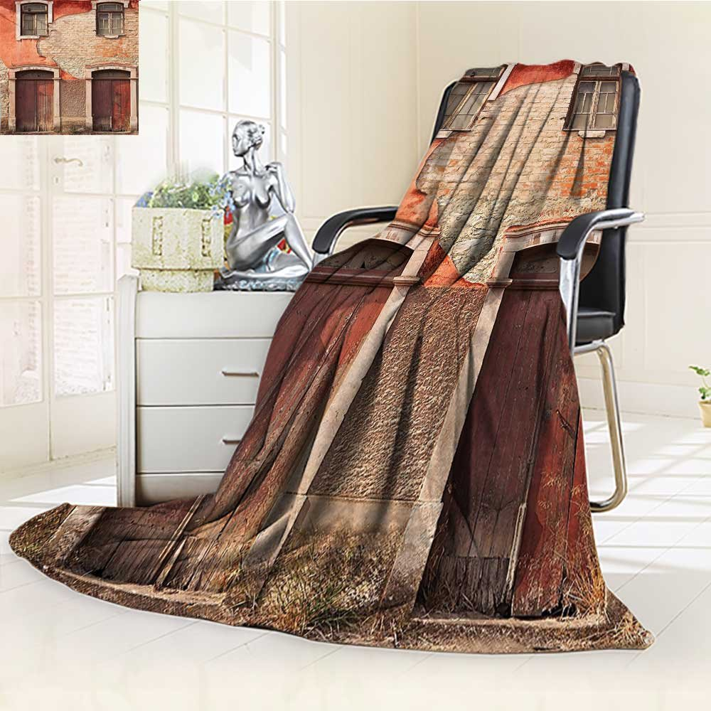 YOYI-HOME Twin Size Bed Duplex Printed Blanket s Super Soft with Wood Windows and Doors in Portugal Damage Rust Image Paprika Ivory Brown Fleece Blanket for Bed or Couch/W47 x H31.5