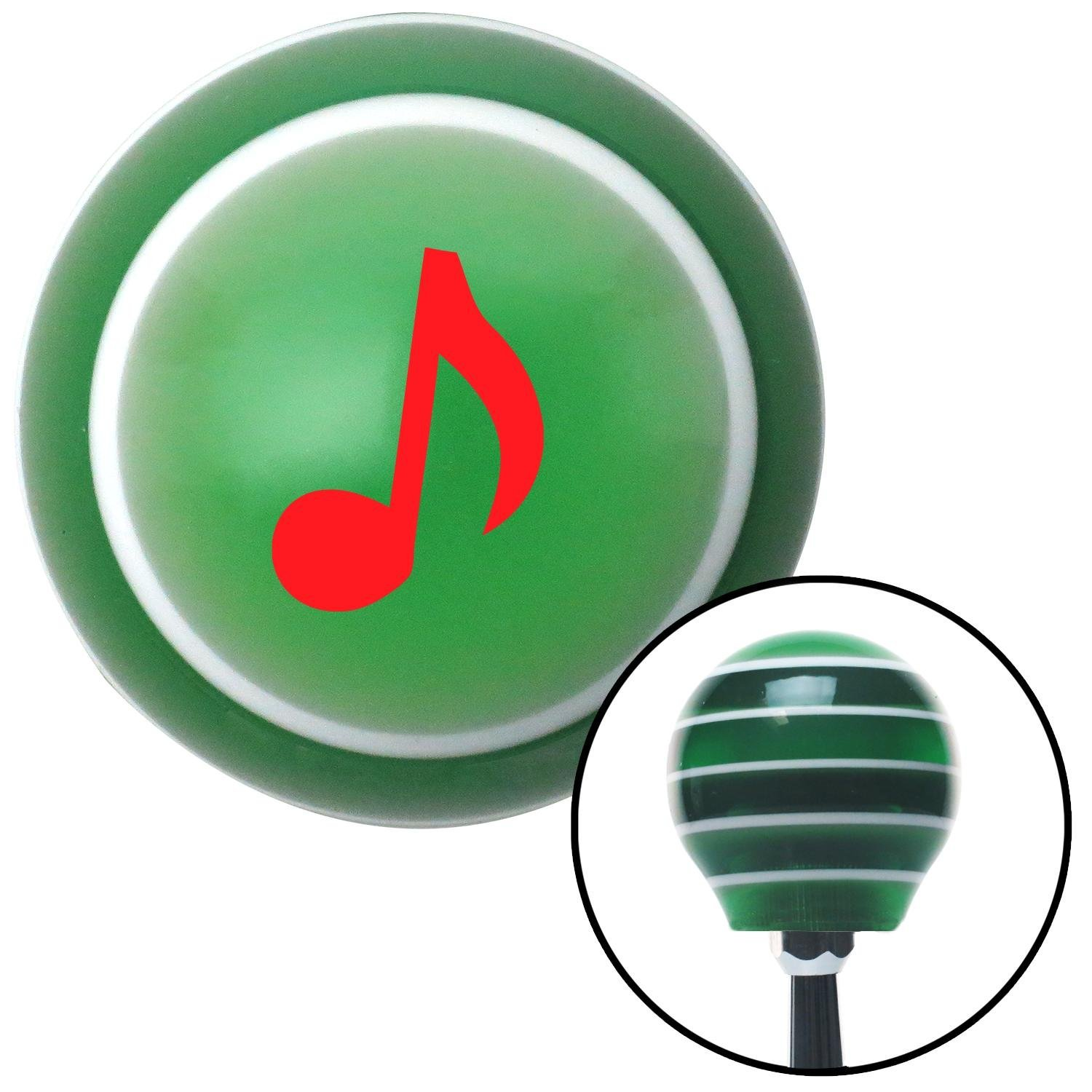 Red Music Note American Shifter 125536 Green Stripe Shift Knob with M16 x 1.5 Insert