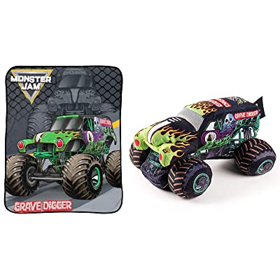 Jay Franco Monster Jam Grave Digger Stuffed Pillow Buddy and Throw Blanket Bundle: Home & Kitchen