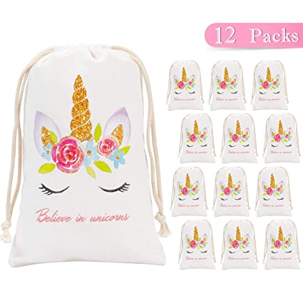 Amazon Whaline Unicorn Party Favor Bags Supplies 12 Pack Canvas Goodie Drawstring For Kids Birthday Favors And Baby Shower Gifts Toys