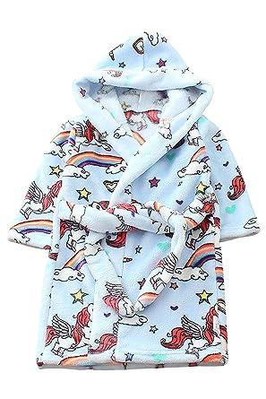 Image Unavailable. Image not available for. Color  JYUAN Kids Unicorn Robe  Hooded Bathrobe Soft Warm Plush Flannel Fleece Bath ... f60fb1679