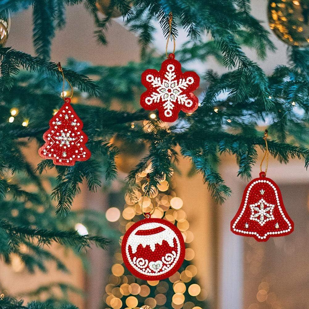 Aediea 10pcs DIY Full Drills Diamond Painting Special Shape Christmas Tree Pendant Christmas Tree Hanging Decoration
