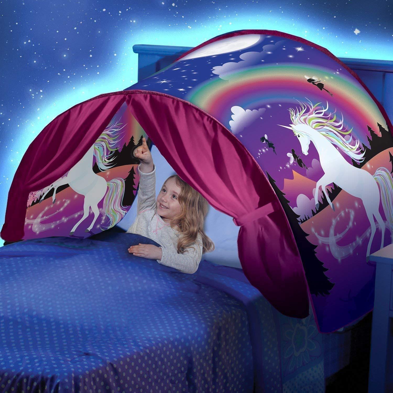 JAANY Tente de Lit Tente de Rêve Enfants Tente Pop Up Lit Tentes Intérieure Playhouse de Tente Cadeaux pour Enfants (Licorne Fantas) JAY